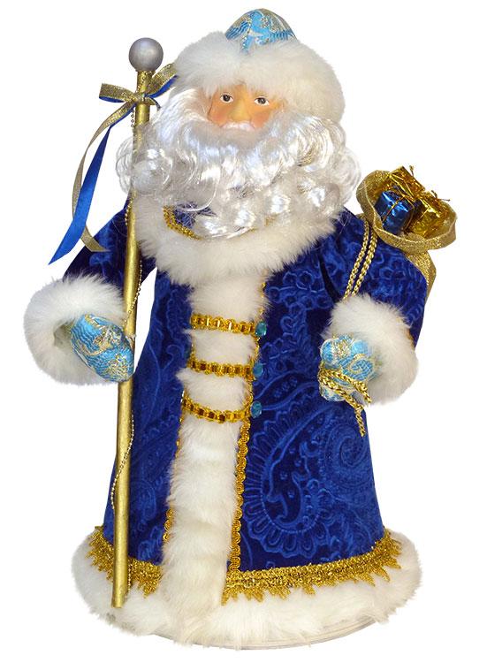 Дед мороз в темно-синем с голыбуми рукавичками